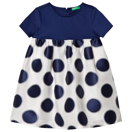 United Colors of Benetton Dress Dots Navy and White White & Navy