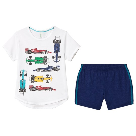 United Colors of Benetton Pyjama Set (T-Shirt and Shorts) in White and Navy White & Navy