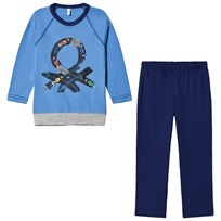 United Colors of Benetton Pyjama Set (Sweater and Shorts) in Blue and Navy Blue