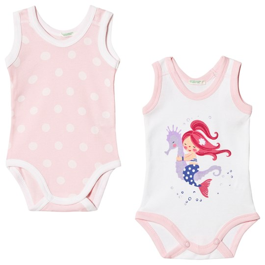 United Colors of Benetton 2-pack Baby Body Vit och Rosa White & pink