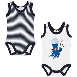 Image of United Colors of Benetton 2-Pack Baby Body White and Navy 62 (3-6 mdr) (3034055661)