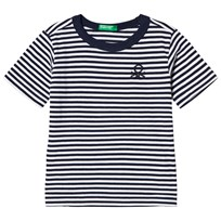 United Colors of Benetton Navy and White Stripe T-Shirt Navy