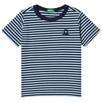 United Colors of Benetton Navy and Blue Stripe T-Shirt Blue