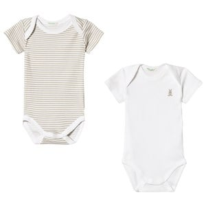 Image of United Colors of Benetton 2 Pack Baby Body White & Beige 74 (9-12 mdr) (3034055677)