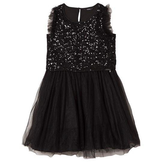 Guess Black Glitter and Tulle Dress JBLK