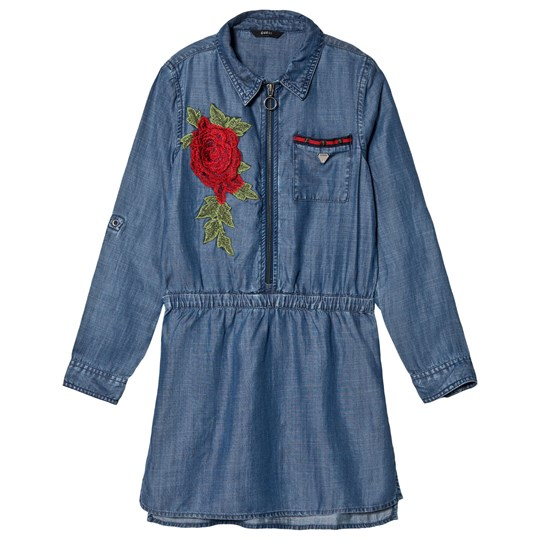 Guess Blue Rose Embroidered Denim Dress LSWI