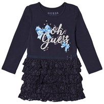 Guess Navy Jersey and Lace Dress FABL