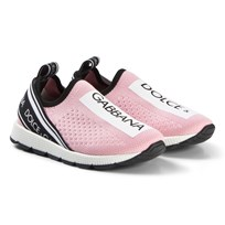 Dolce & Gabbana Pink and White Logo Mesh Trainers 8B405
