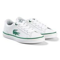 Lacoste White and Green Lerond Kids Trainers WHT/GRN