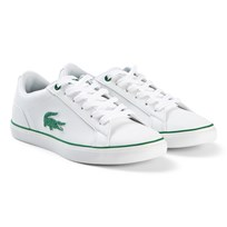 Lacoste White and Green Lerond Junior Trainers WHT/GRN