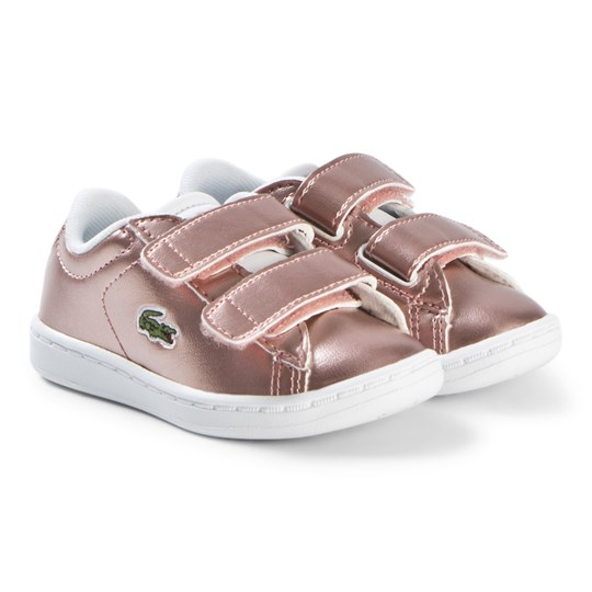 Lacoste Pink Velcro Carnaby Evo Infant Trainers PNK/WHT