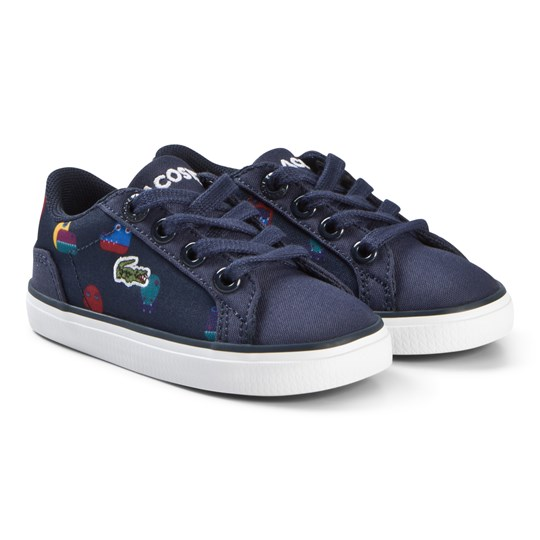 Lacoste Navy Croc Face Print Lerond Infant Trainers NVY
