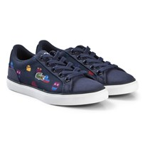 Lacoste Navy Croc Face Print Lerond Kids Trainers NVY