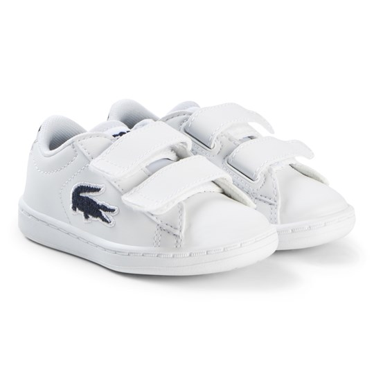 Lacoste White and Navy Velcro Carnaby Evo Infant Trainers WHT/NVY