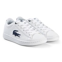 Lacoste With and Navy Carnaby Evo Kids Trainers WHT/NVY