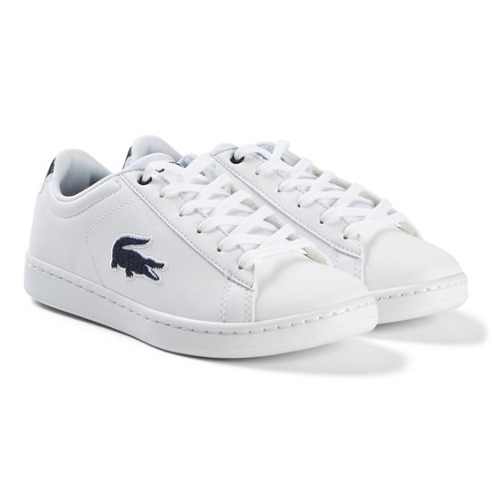 Lacoste With and Navy Carnaby Evo Junior Trainers WHT/NVY