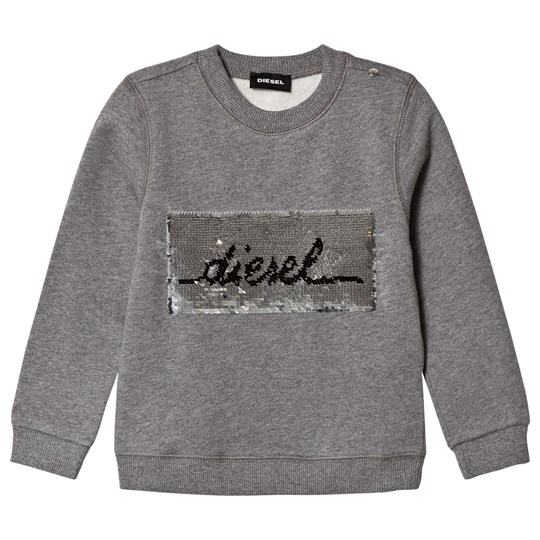 Diesel Grey 2 Way Sequin Branded Sweatshirt K979