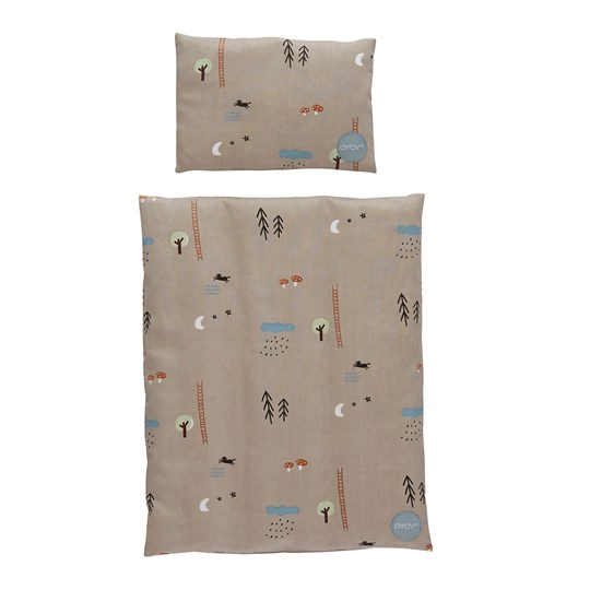 OYOY Happy Forest Bedding for Doll Bed Grey brown