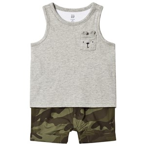 Image of GAP 2-in-1 Romper in Light Heather Grey and Camo 12-18 mdr (3035910877)