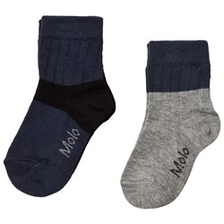 Molo 2-Pack Nord Socks Whale Blue