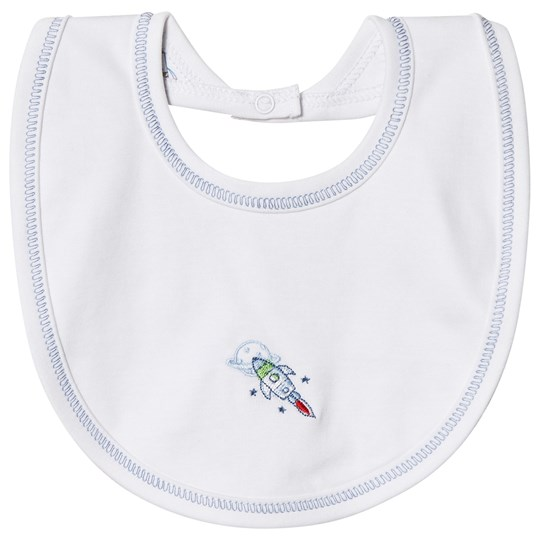 Kissy Kissy White Rockin Rocket Reversible Bib ROCKIN ROCKETS