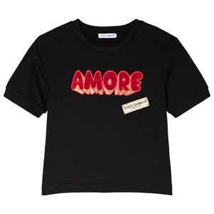 Image of Dolce & Gabbana Black Amore Applique Branded Tee 10 years (3037562721)