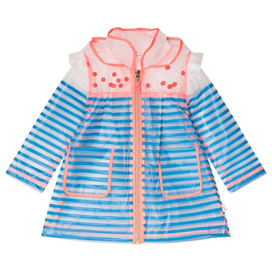 Billieblush White and Blue Stripe Transparent Raincoat Z40