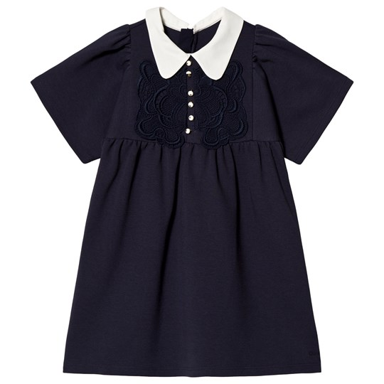 Chloé Navy Frill Front Milano and Lace Dress 857