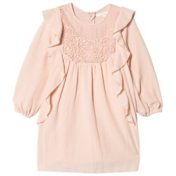 Chloé Pink Crepe and Lace Frill Dress