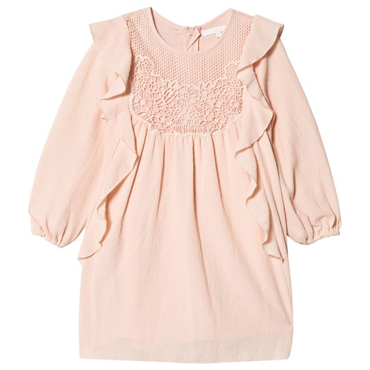 Chloé Pink Crepe and Lace Frill Dress 438