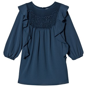 Image of Chloé Blue Crepe and Lace Frill Dress 12 years (3038342917)