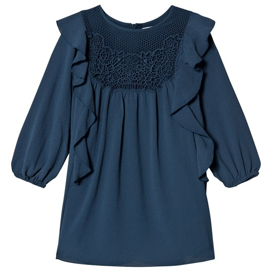 Chloé Blue Crepe and Lace Frill Dress 800
