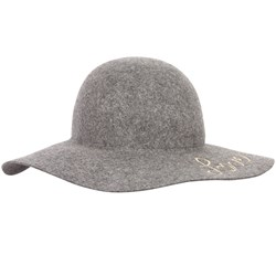 Chloé Grey Love Embroidered Wool Hat