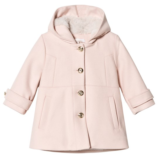Chloé Pink Wool Hooded Coat with Faux Fur Lining 438