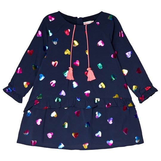 Billieblush Navy Holographic Heart Print Dress 85T