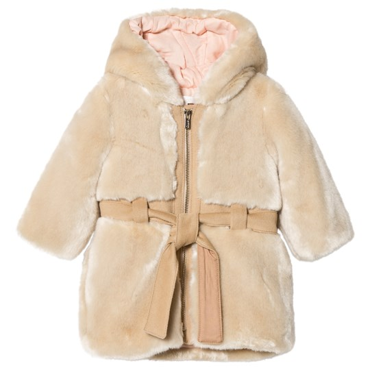 Chloé Tan Faux Fur Hooded Coat with Belt Detail 231