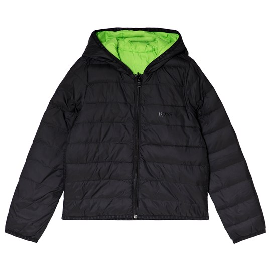 BOSS Black Reversible into Lime Hooded Branded Jacket 09B