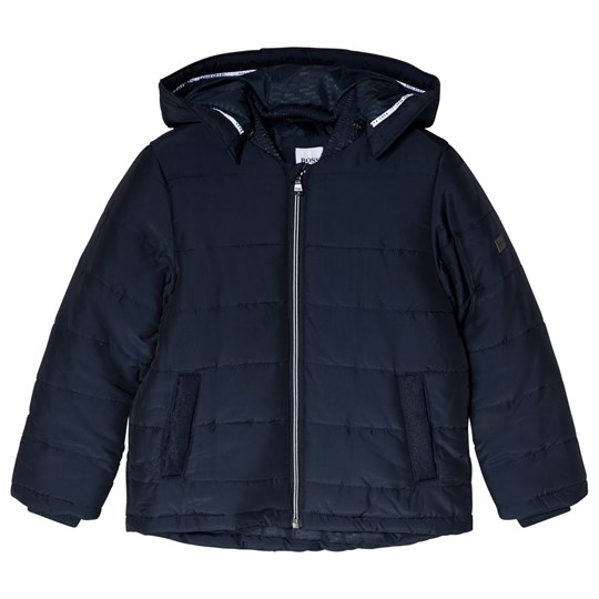 BOSS Navy Puffer Jacket with Branding 849