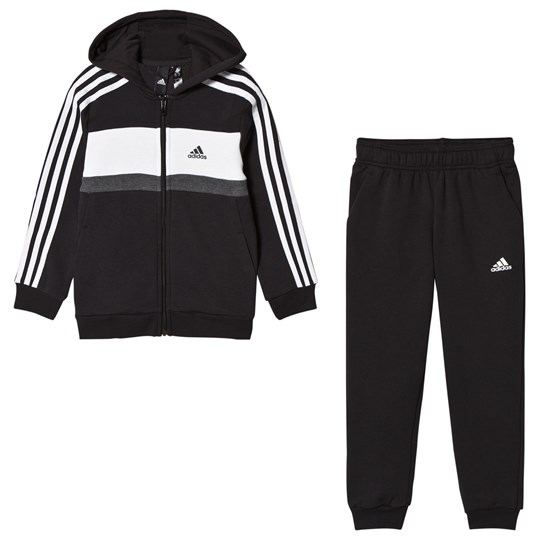 adidas Performance Black Tracksuit Top:black/white/medium grey heather Bottom:BLACK