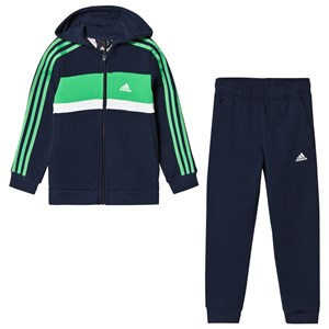Image of adidas Performance Navy and Green Tracksuit 13-14 years (164 cm) (3056078571)
