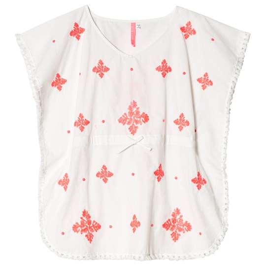 Seafolly White and Red Embroidered Kaftan White/Jewel Coral