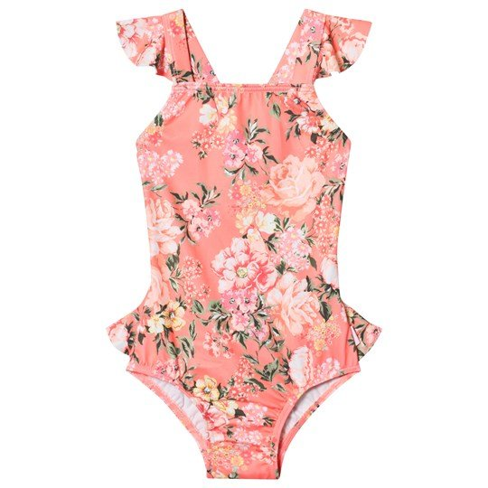 Seafolly Pink Forget Me Not Ruffle Tank Swimsuit Blossom Pink