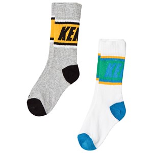 Image of Kenzo 2-Pack Socks in White and Grey 27-30 (UK 9-11.5) (3038730179)