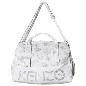 Image of Kenzo White and Grey Tiger Print Organic Cotton Changing Bag and Mat (3038732281)