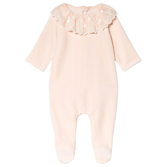 Chloé Pink Velour and Lace Frill Collar Footed Baby Body 471