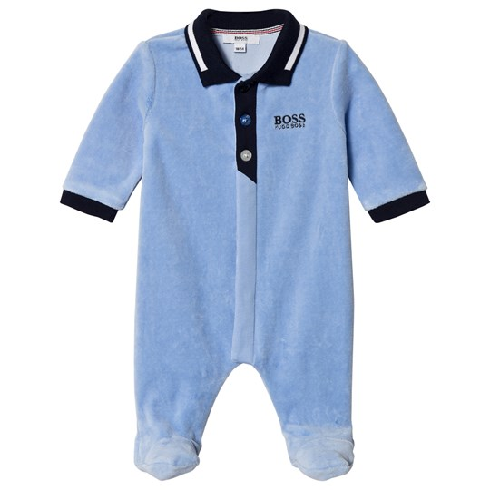 BOSS Blue Velour Polo Branded Footed Baby Body 77H