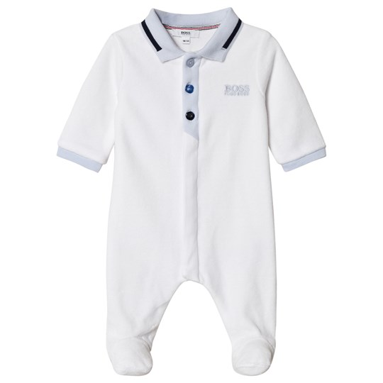BOSS White Velour Polo Branded Footed Baby Body 10B