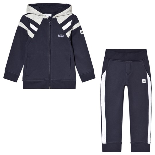 BOSS Navy and Grey Panelled Logo Tracksuit M68