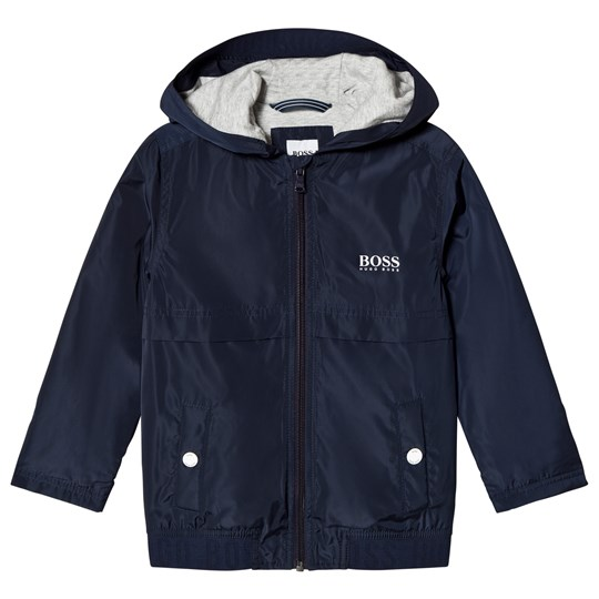 BOSS Navy Hooded Branded Windbreaker 849