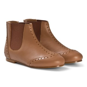 Image of Chloé Brown Leather Brogue Detail Ankle Boots 30 (UK 12) (3039914827)